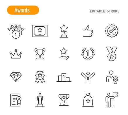 Awards Icons - Line Series - Editable Stroke