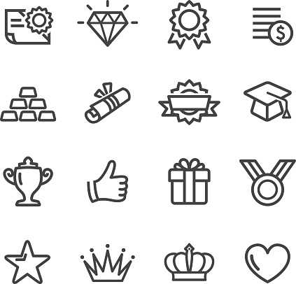 Awards Icons Line Series Stock Illustration - Download Image Now