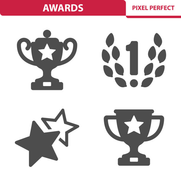 ilustrações, clipart, desenhos animados e ícones de ícones de prêmios - troféu