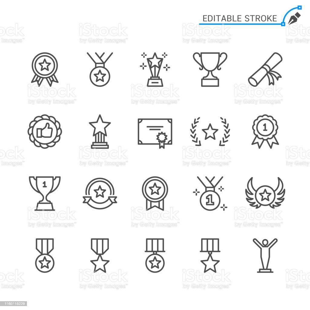 Awards line icons. Editable stroke. Pixel perfect. - Royalty-free Arte Linear arte vetorial
