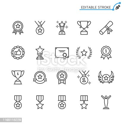 Awards line icons. Editable stroke. Pixel perfect.