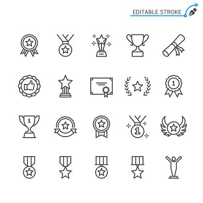 Awards Line Icons Editable Stroke Pixel Perfect - Stockowe grafiki wektorowe i więcej obrazów Chudy