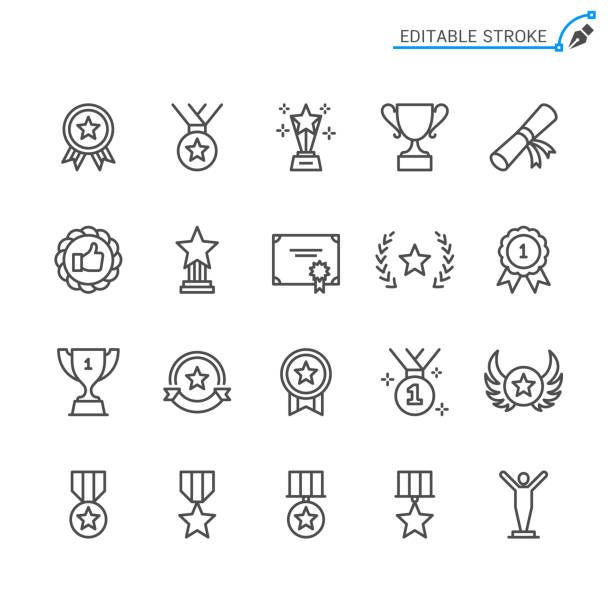 Awards line icons. Editable stroke. Pixel perfect. Awards line icons. Editable stroke. Pixel perfect. win stock illustrations