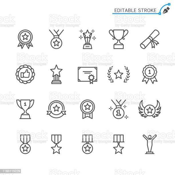 Awards Line Icons Editable Stroke Pixel Perfect - Arte vetorial de stock e mais imagens de Arte Linear