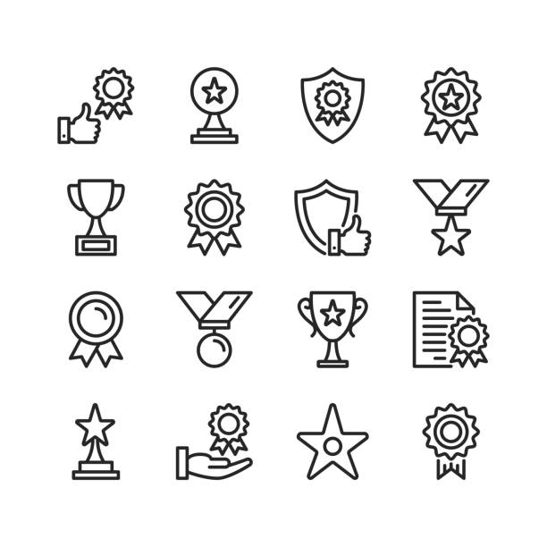 Awards line icons. Modern stroke, linear elements. Outline symbols collection. Premium quality. Pixel perfect. Vector thin line icons set vector art illustration