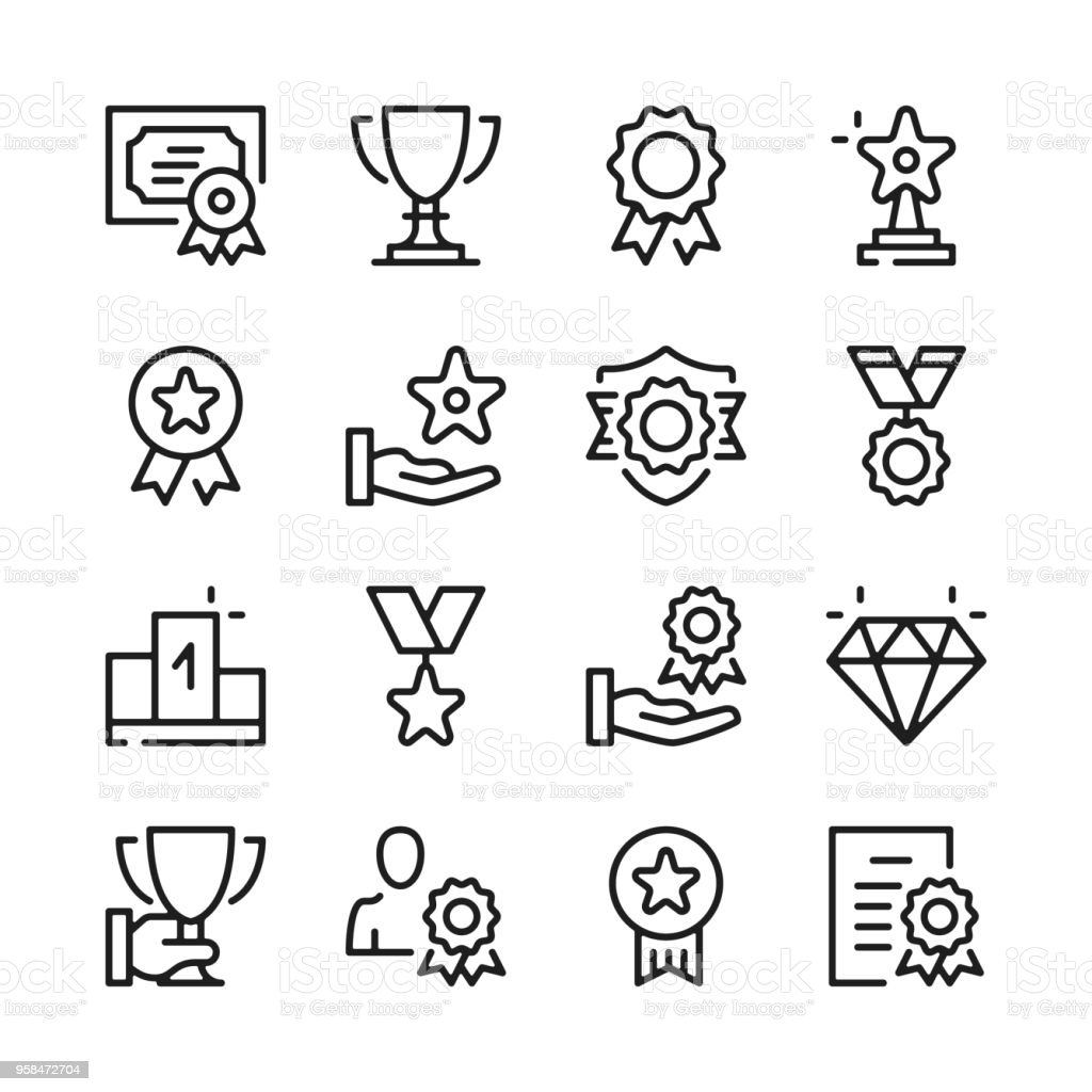 Awards line icons set. Modern graphic design concepts, simple outline elements collection. Vector line icons - Grafika wektorowa royalty-free (Aplikacja mobilna)
