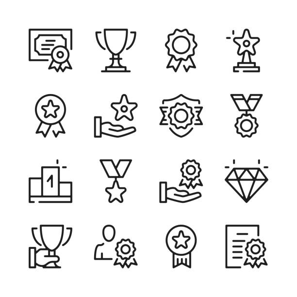 illustrazioni stock, clip art, cartoni animati e icone di tendenza di awards line icons set. modern graphic design concepts, simple outline elements collection. vector line icons - icona line