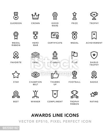 Awards Line Icons Vector EPS 10 File, Pixel Perfect Icons.