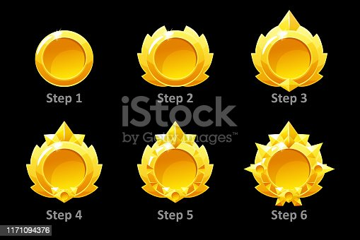 Awards medals for Gui Game. Vector golden template award 6 step by steps. Objects on a separate layer.