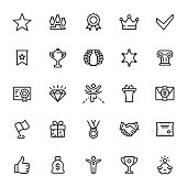 Awards - 25 Outline Style - Single black line icons - Pixel Perfect / Pack #32 Icons are designed in 48x48pх square, outline stroke 2px.  First row of outline icons contains: Star icon, Number 1 pedestal, Medal Badge with ribbons, Crown - Headwear, Check Mark;  Second row contains: Ribbon with Star, Trophy - Award, Laurel Wreath, Sheriff Star, Architectural Column;  Third row contains: Awards Ceremony, Diamond - Gemstone, Finishing, Podium Tribune, Money Gift;  Fourth row contains: Flag, Gift, Medal, Handshake, Certificate;  Fifth row contains: Thumbs Up, Money Bag, Winner, Trophy Cup, Lotus Position.  Complete Grandico collection - https://www.istockphoto.com/collaboration/boards/FwH1Zhu0rEuOegMW0JMa_w