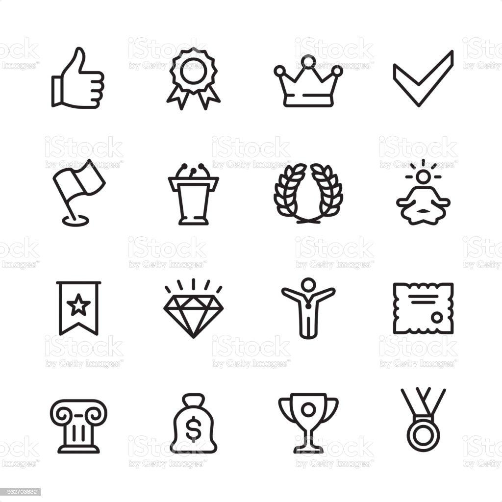 Awards - outline icon set vector art illustration