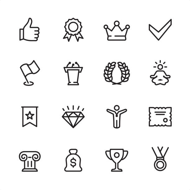 Awards - outline icon set 16 line black and white icons / Set #44 / Awards Pixel Perfect Principle - all the icons are designed in 48x48pх square, outline stroke 2px.  First row of outline icons contains:  Thumbs Up, Medal Badge with ribbons, Crown - Headwear icon, Check Mark;  Second row contains:  Flag, Podium Tribune, Laurel Wreath, Lotus Position;  Third row contains:  Ribbon with Star, Diamond - Gemstone, Winner, Certificate;   Fourth row contains:  Architectural Column, Money Bag, Trophy - Award, Medal.  Complete Inlinico collection - http://www.istockphoto.com/collaboration/boards/2MS6Qck-_UuiVTh288h3fQ incentive stock illustrations