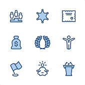 Awards icons set #64 Specification: 9 icons, 48x48 pх, blue stroke weight 2 px. Features: Pixel Perfect, Single line, Color-filled parts.  First row of icons contains: First Place, Sheriff Star, Certificate;  Second row contains: Money Bag, Laurel Wreath, Winner;  Third row contains: Flag, Lotus Position, Tribune.  Complete Ninico Blue collection - https://www.istockphoto.com/collaboration/boards/KZ1_tG41mEa7_qCGyBYMqA