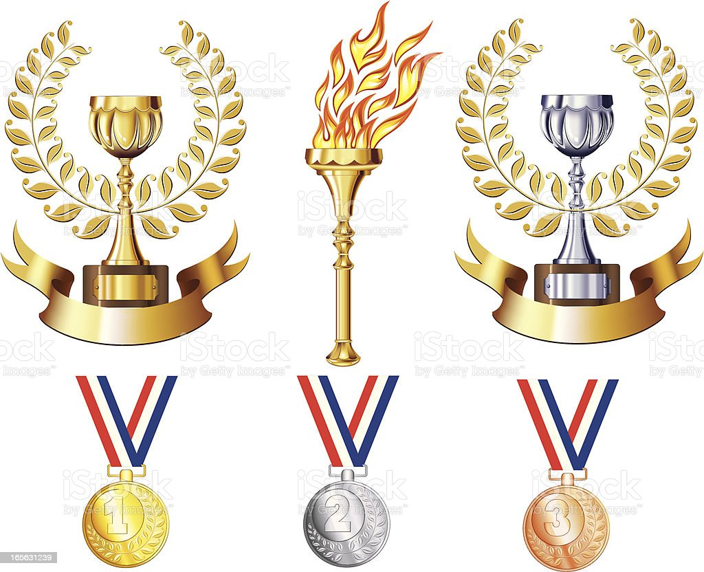 Awards set royalty-free awards set stock vector art & more images of achievement