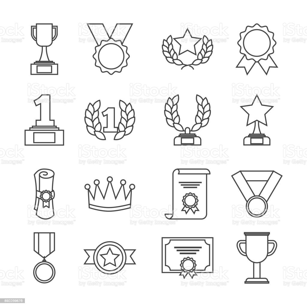 Awards Trophy Medals And Winning Ribbon Success Icons Symbols Stock