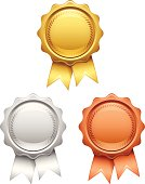 Award badges with copy space. EPS 10 file. Transparency used on highlight elements.