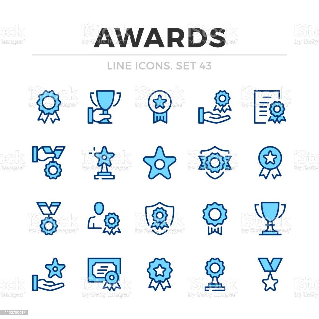 Awards Vector Line Icons Set Thin Line Design Modern
