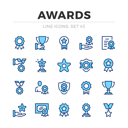 Awards vector line icons set. Thin line design. Modern outline graphic elements, simple stroke symbols. Awards icons