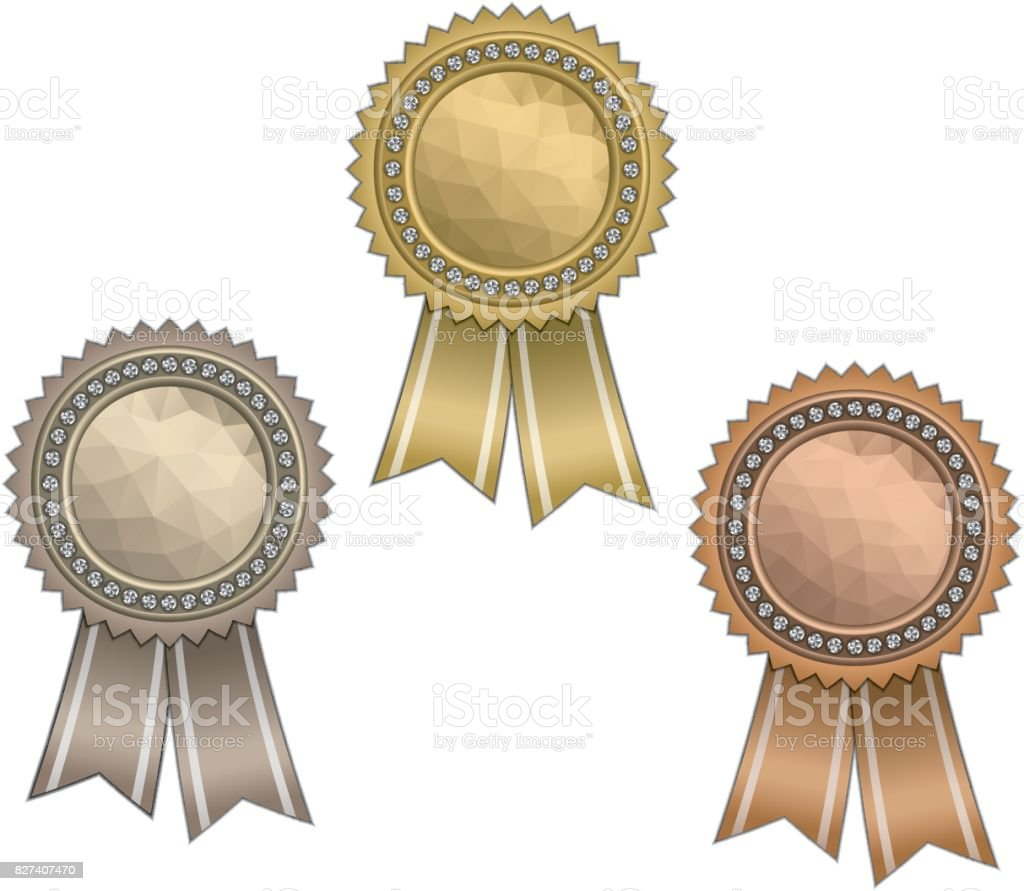 Awards with ribbons vector art illustration