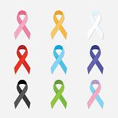 Awareness charity ribbons flat vector design elements