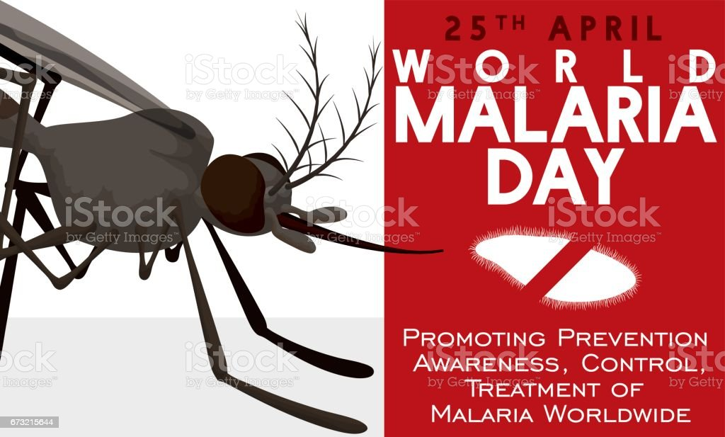 Awareness Design in World Malaria Day with Mosquito and Plasmodium векторная иллюстрация