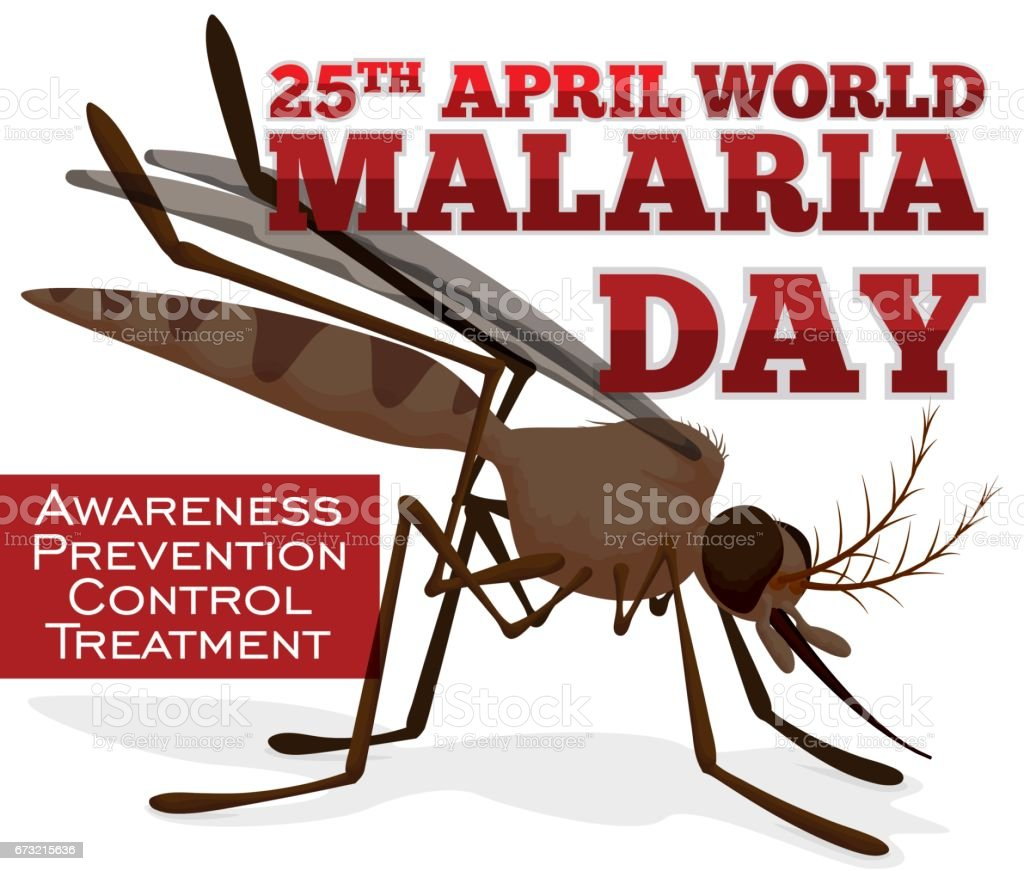 Awareness Propaganda with Mosquito for World Malaria Day vector art illustration