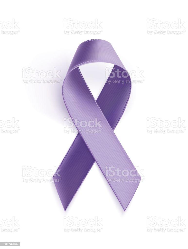 Awareness purple ribbon. vector art illustration