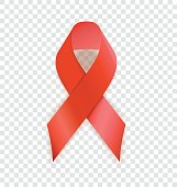 AIDS awareness realistic ribbon, isolated on background