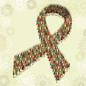 Awareness ribbon compounded by children
