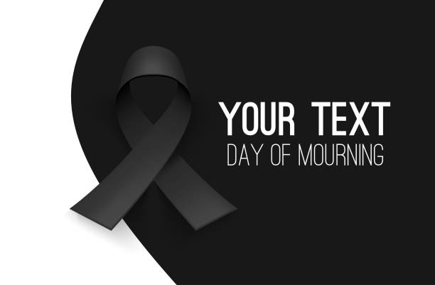 Awareness ribbon. Mourning and melanoma symbol. Black background, backdrop. Templates for placards, banners, flyers, presentations, reports, invitation, posters, brochure, voucher discount Awareness ribbon. Mourning and melanoma symbol. Black background backdrop. Templates for placards banners, flyers, presentations, reports. Invitation posters, brochure. Voucher discount. EPS grief stock illustrations