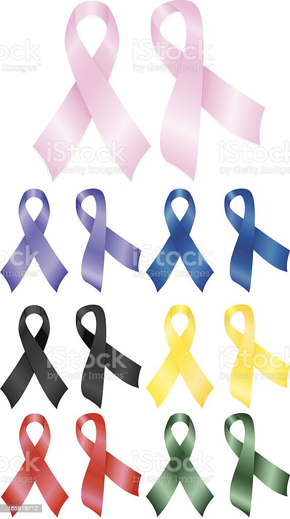 Awareness Ribbons - Pink, Purple, Blue, Yellow, Red, Black, Green royalty-free awareness ribbons pink purple blue yellow red black green stock vector art & more images of aids