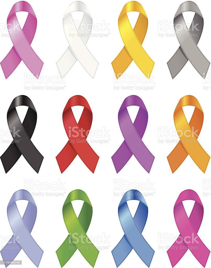 Awareness ribbons vector art illustration