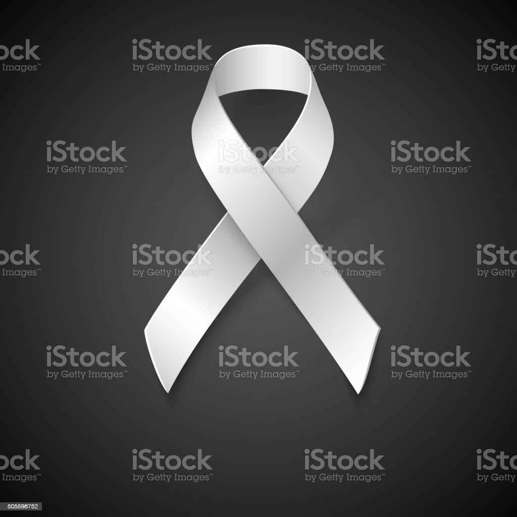 Awareness White Ribbon vector art illustration