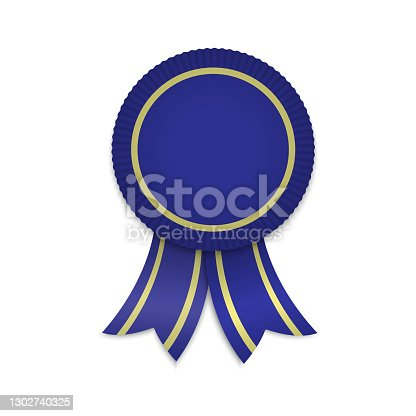 istock Awarg medal with ribbons. Template for winner 1302740325