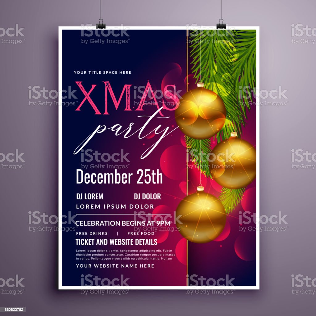Awesome Christmas Party Flyer Poster Design Template Stock Vector