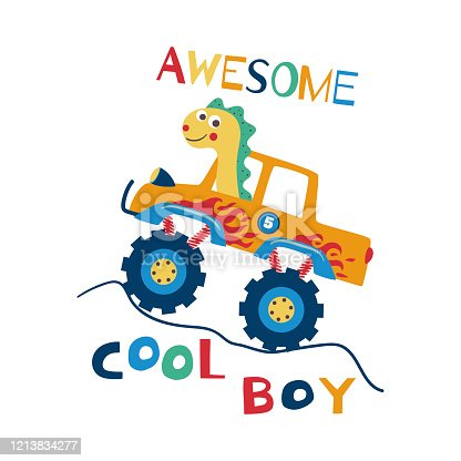 Awesome cool boy. T-shirt design for kids