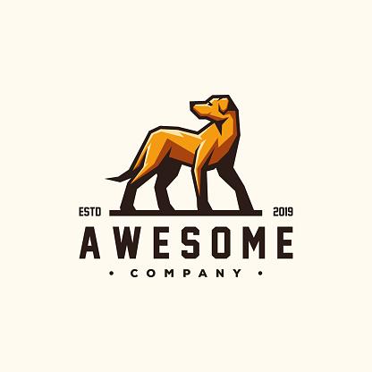 awesome dog logo design vector