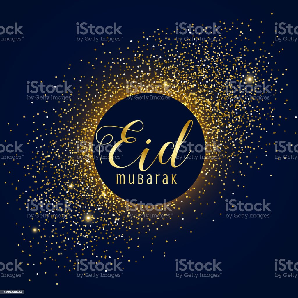 Awesome Eid Mubarak Festival Greeting With Golden Sparkles Stock