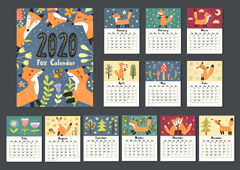 Awesome fox calendar for 2020 year