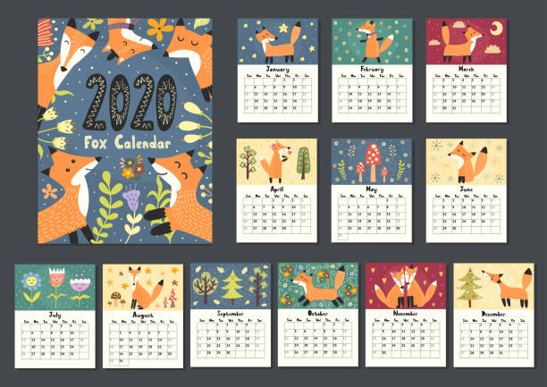 awesome fox calendar for 2020 year - animals calendar stock illustrations