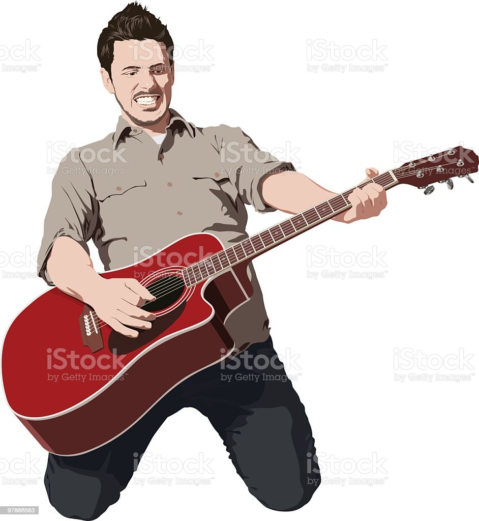 Awesome guitar player vector art illustration