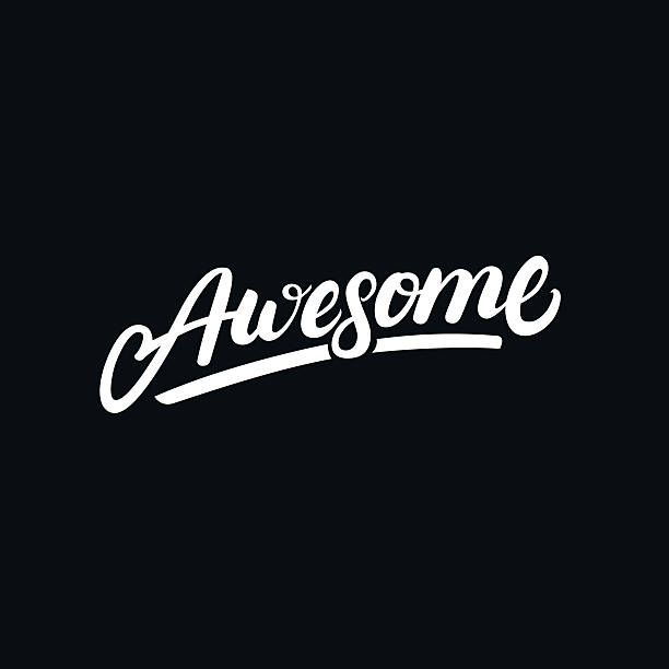 awesome hand written lettering. - wow stock-grafiken, -clipart, -cartoons und -symbole