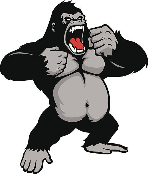 awesome kingkong standing - gorilla stock illustrations