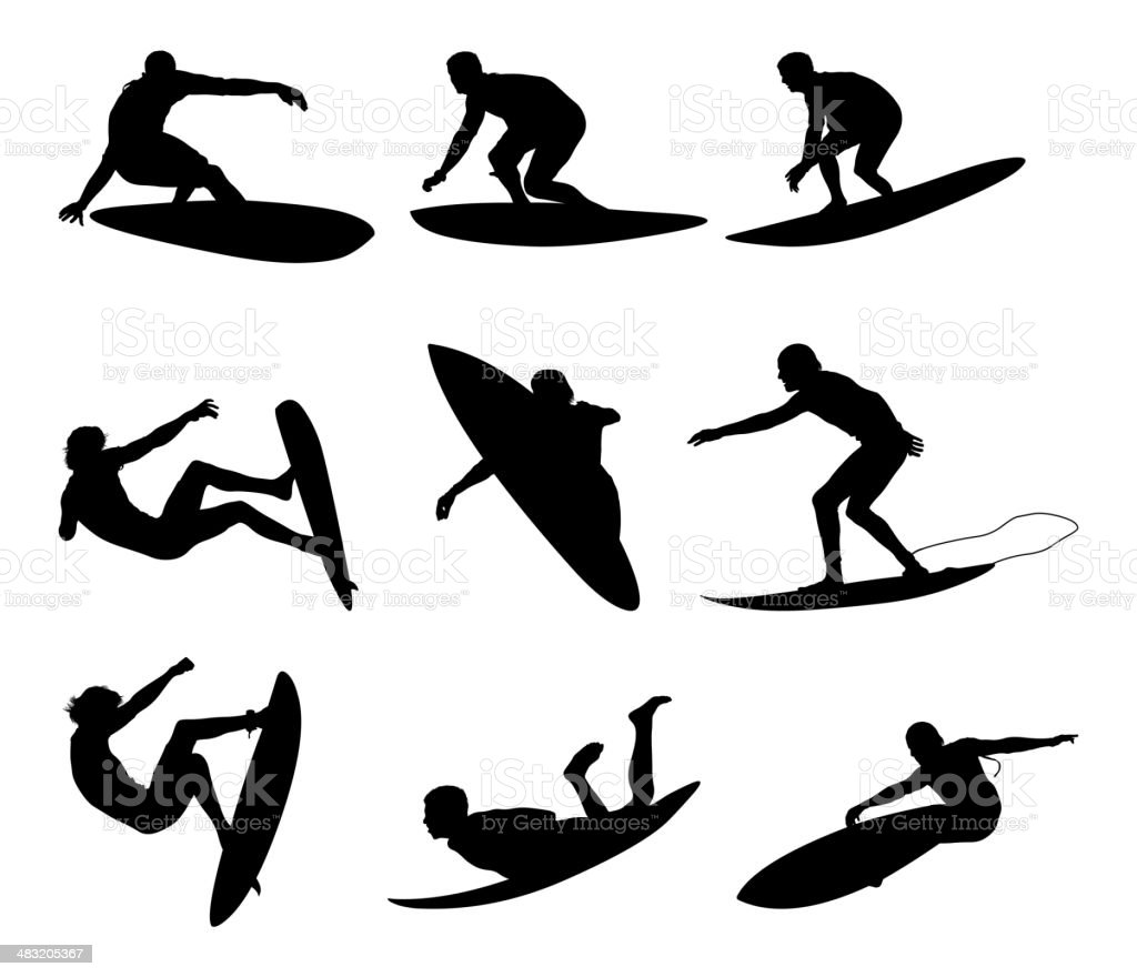 Awesome male surfers surfing royalty-free stock vector art