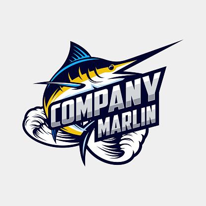 awesome marlin logo design vector