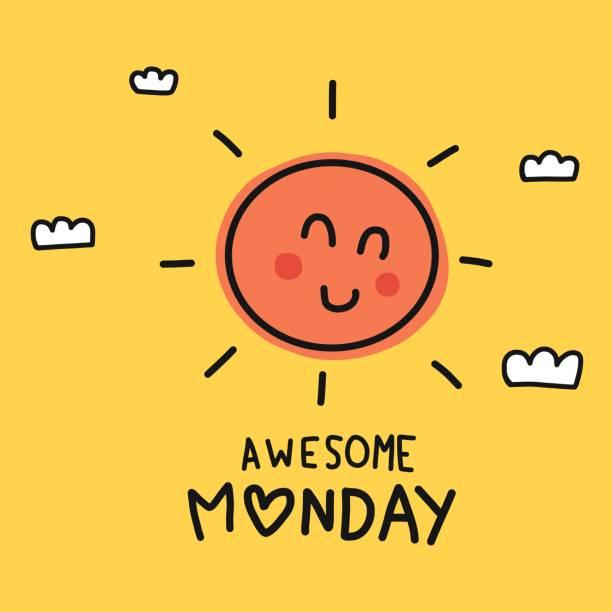 stockillustraties, clipart, cartoons en iconen met awesome maandag schattig zon glimlach doodle stijl vector illustratie - fresh start yellow
