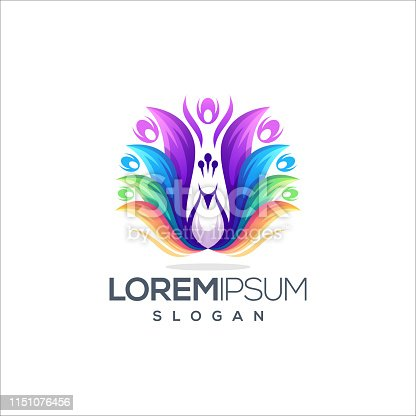 awesome colorful peacock logo design vector ready to use
