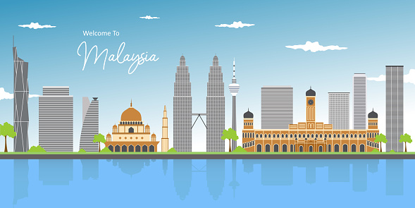 Awesome scenic panorama cityscape view in the middle of Kuala Lumpur city center. Cityscape early morning sunrise scene at Lake Titiwangsa with twins tower and mosque. Landmark of Malaysia.