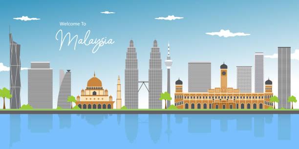 illustrations, cliparts, dessins animés et icônes de vue panoramique panoramique impressionnante de paysage urbain au milieu du centre-ville de kuala lumpur. paysage urbain tôt le matin scène de lever de soleil au lac titiwangsa avec la tour et la mosquée de jumeaux. point de repère de la malaisie. - business malaysia