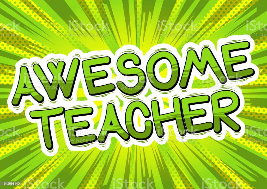 Awesome Teacher vector art illustration